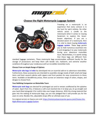 Choose the Right Motorcycle Luggage System