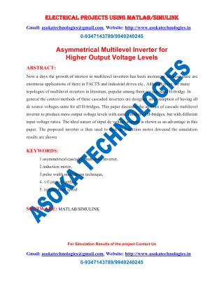 Asymmetrical Multilevel Inverter for Higher Output Voltage Levels