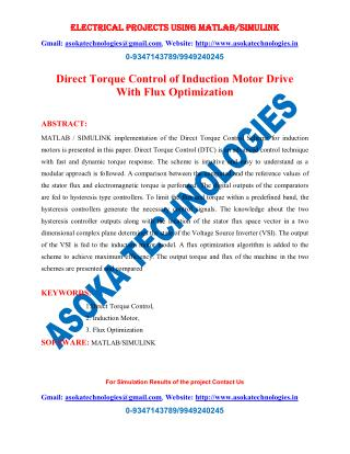 Direct Torque Control of Induction Motor Drive With Flux Optimization