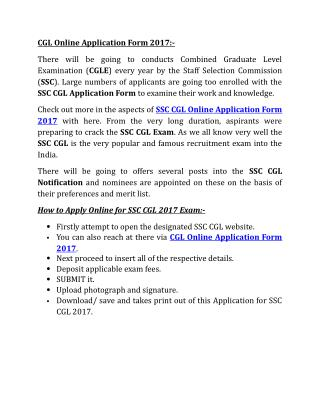 CGL Online Application Form 2017