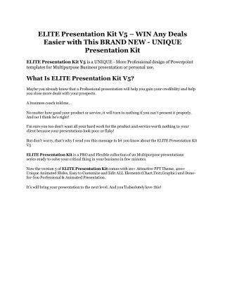ELITE Presentation Kit V5 review demo & BIG bonuses pack