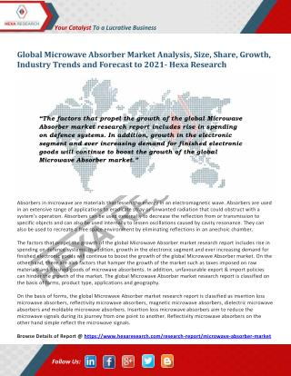 Microwave Absorber Market Analysis, Size, Share, Growth and Forecast to 2021 - Hexa Research