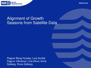 Alignment of Growth Seasons from Satellite Data