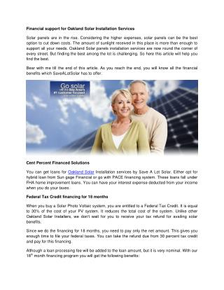 Financial support for Oakland Solar Installation Services