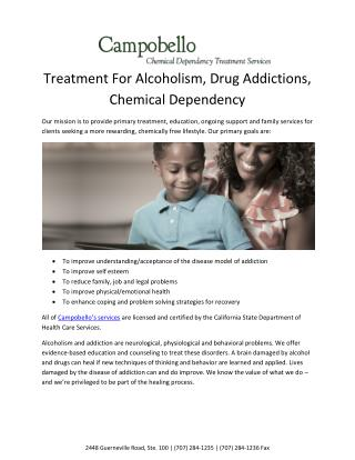 Treatment for Alcoholism - Campobello Santa Rosa
