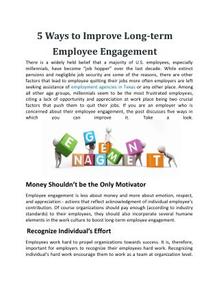 5 Ways to Improve Long-term Employee Engagement