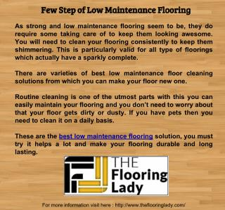 Few Step of Low Maintenance Flooring
