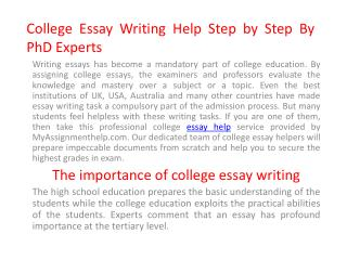 College Essay Help Online Step by Step From PhD Experts