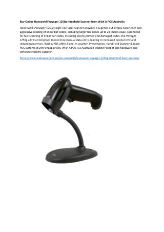 Buy Online Honeywell Voyager 1250g Handheld Scanner from Wish A POS Australia