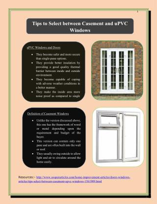 Tips to Select between Casement and uPVC Windows