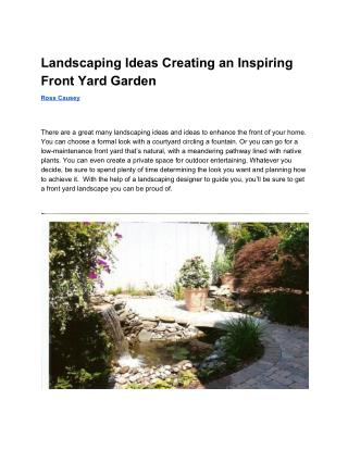 Landscaping Ideas Creating an Inspiring Front Yard Garden