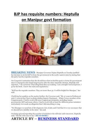 BJP has requisite numbers: Heptulla on Manipur govt formation