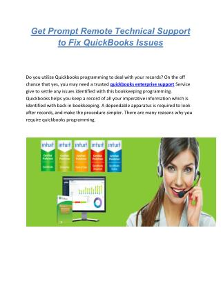 Get Prompt Remote Technical Support to Fix QuickBooks Issues