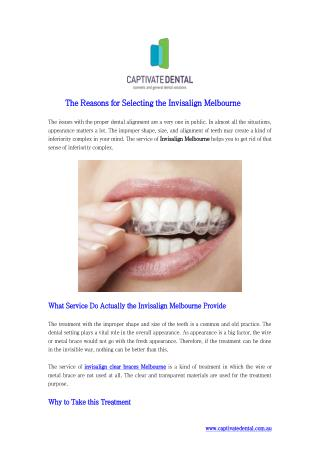 The Reasons for Selecting the Invisalign Melbourne