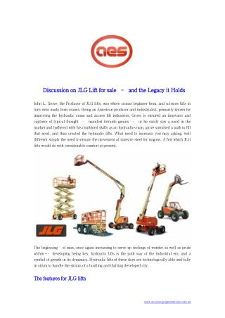 Discussion on JLG Lift for sale – and the Legacy it Holds