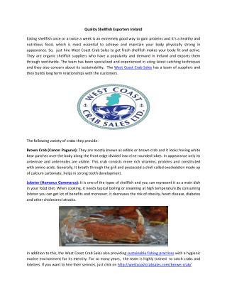 Quality Shellfish Exporters Ireland