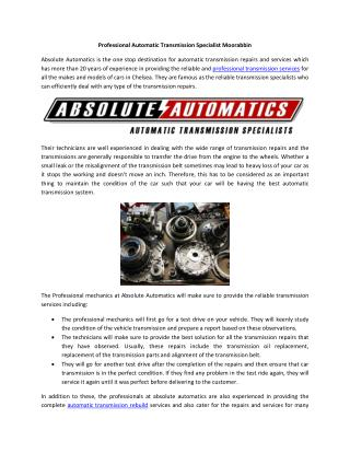 Professional Automatic Transmission Specialist Moorabbin