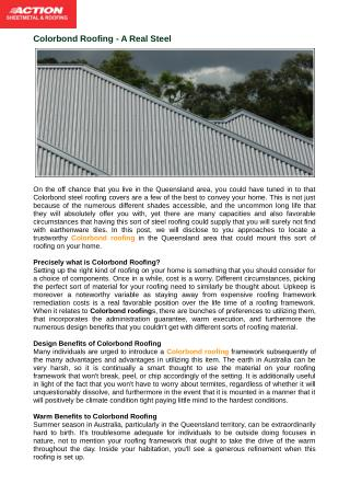 Design Benefits of Colorbond Roofing