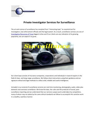 Private Investigator Services in Dallas