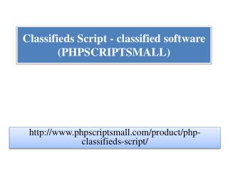 Classifieds Script - classified software (PHPSCRIPTSMALL)