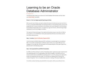 Learning to be an Oracle Database Administrator