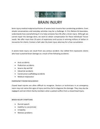 Brain Injury - Medical Malpractice lawyer