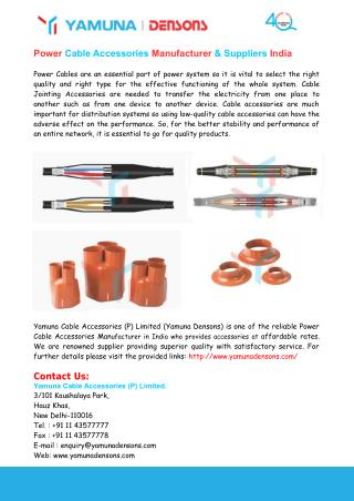 Power Cable Accessories Manufacturer & Suppliers India