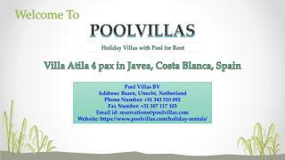Villa Atila 4 pax for 4 people in Javea, Costa Blanca, Spain