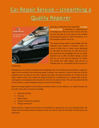 Car repair service – unearthing a quality repairer