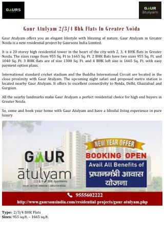 Gaur Atulyam 2/3/4 Bhk Flats In Greater Noida