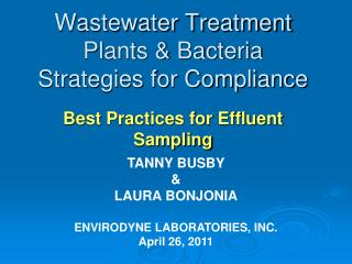 Wastewater Treatment Plants  Bacteria Strategies for Compliance