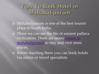 Tips to Book Hotel in Mahabalipuram