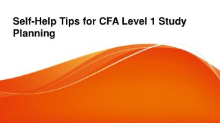 Self-help Tips for CFA Level 1 Study Planning