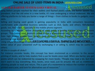 ONLINE SALE OF USED ITEMS IN INDIA- LESSUSED.COM