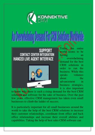 An Overwhelming Demand For CRM Solutions Worldwide