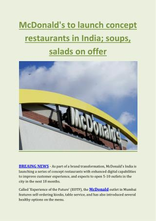 McDonald's to launch concept restaurants in India; soups, salads on offer
