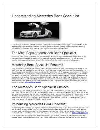 Mercedes Benz specialist