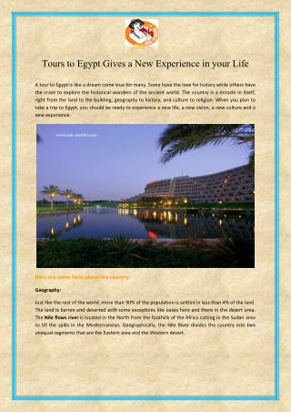Tours to egypt gives a new experience in your life