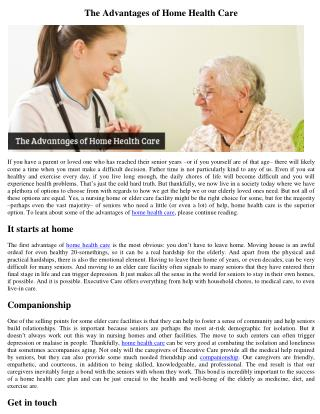 The Advantages of Home Health Care
