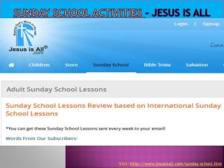 Sunday School Activities - Jesus Is All
