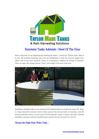 Rainwater Tanks Adelaide Need Of The Hour