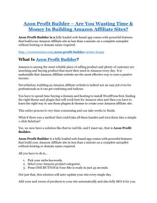 Azon Profit Builder Reviews and Bonuses-- Azon Profit Builder