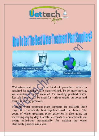 How To Get The Best Water Treatment Plant Suppliers?