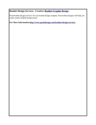 Booklet Design Services - Creative Booklet Graphic Design