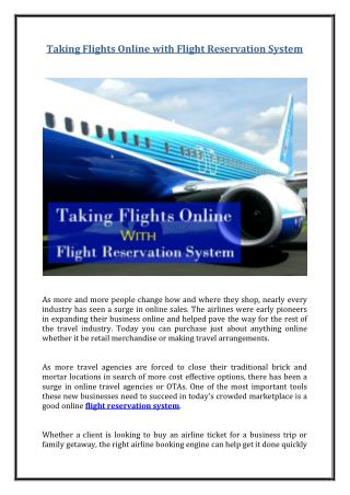 Taking Flights Online with Flight Reservation System