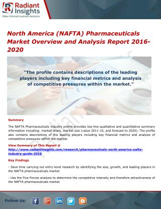 North America (NAFTA) Pharmaceuticals Market Analysis and Forecasts 2016-2020