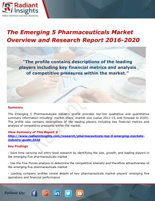 The Emerging 5 Pharmaceuticals Market Size, Share and Analysis Report 2016-2020