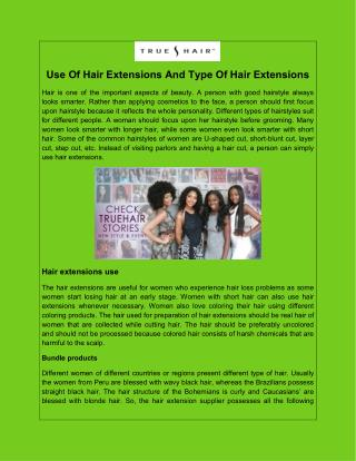 Use Of Hair Extensions And Type Of Hair Extensions