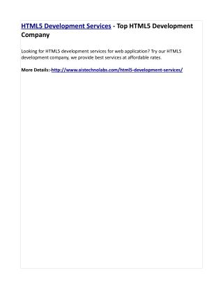 HTML5 Development Services - Top HTML5 Development Company