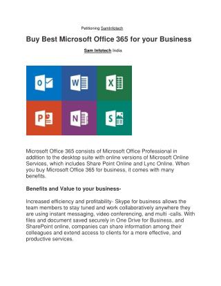 Buy Best Microsoft Office 365 for your Business